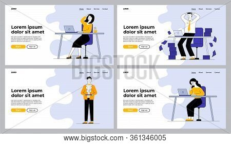 Office Workers In Troubles Set. Employee Panicking At Workplaces, Waiter With Glasses. Flat Vector I
