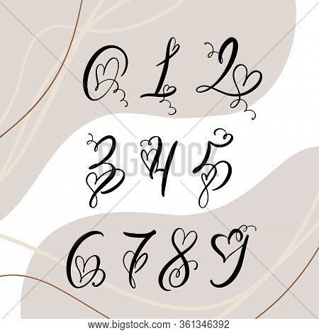 Handwritten Heart Calligraphy Monogram Numbers. Valentine Cursive Font With Flourishes Heart Font. I