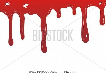 Paint Dripping. Dripping Liquid.current Inks. Vector Illustration. Color Easy To Edit. Transparent B