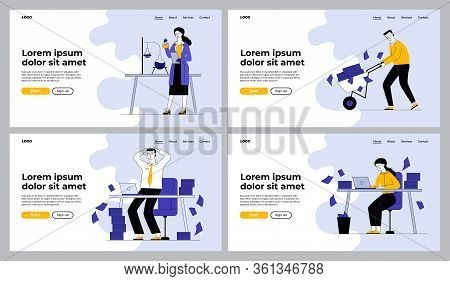 Paperwork And Research Set. Scientist Conducting Experiment, Employees With Heaps Of Papers. Flat Ve