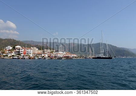 Marmaris,turkey - October 30, 2019:view Of The Turkish City Of Marmaris From The Aegean Sea