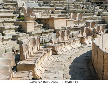 The Theater Of Dionysus Eleuthereus Of The Athenian Acropolis. Athens, Greece. Ancient Greek Amphith