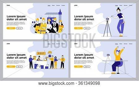 Different Jobs Set. Vlogger Training Body On Camera, Construction Team, Post Office. Flat Vector Ill