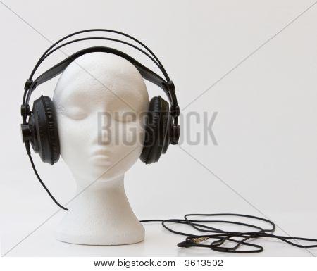 Stereo Headphones On Mannequin
