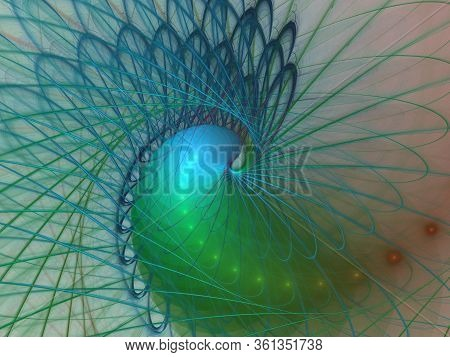 Intricate Abstract Wire / String Woven Spiral Design. Abstract Background With Glowing Spiral. Abstr