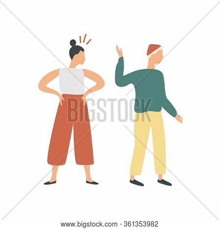 Conflict Of Colorful Cartoon Couple Isolated On White Background. Offended Man Turning And Go Away F