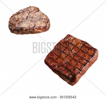 Two Grilled Boneless Rib Eye Steaks Isolated On White Background
