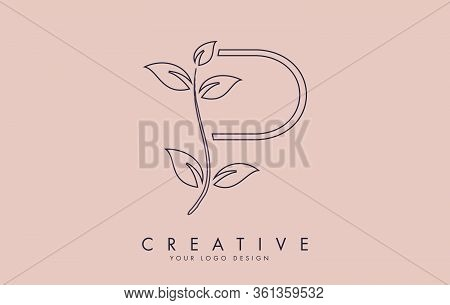Outline Leaf Letter P Logo Design With Leaves On A Branch And Pink Background. Letter P With Nature