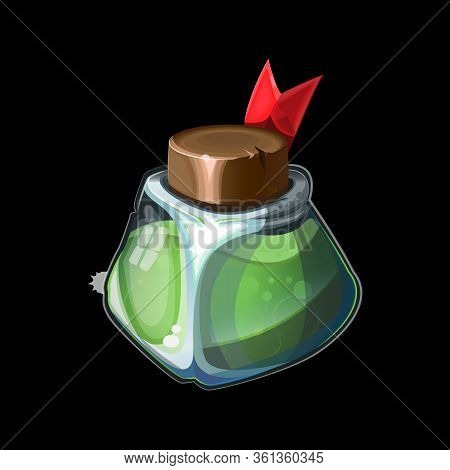 Old Magic Bottle, Magical Green Potion In Glass Or Liquid Poison Drink Of Alchemy Or Chemistry. Illu