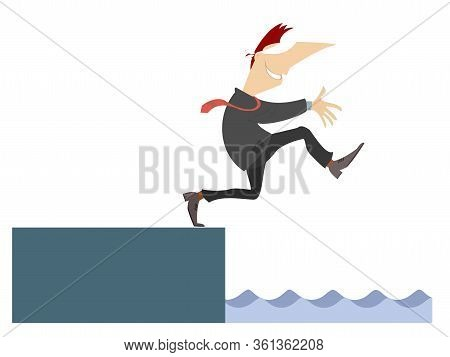 Blindfolded Man Walking Towards The Precipice With Underneath Water Illustration. Blindfolded Man Wa