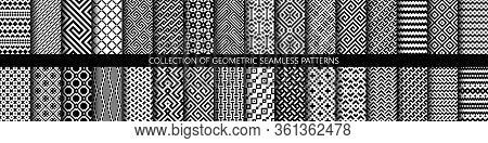 Vector Set Of Black And White Ornamental Seamless Patterns. Collection Of Geometric Modern Patterns.