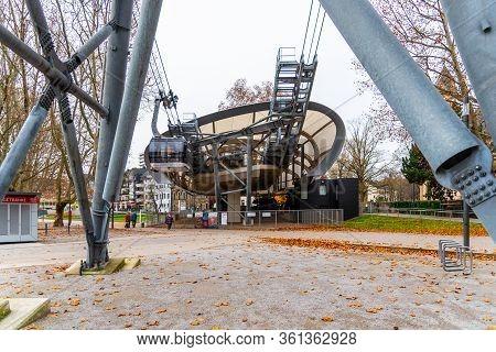 Koblenz, Germany - December 02, 2019: Modern Lower Station Of Cable Car In Koblenz, German: Seilbahn