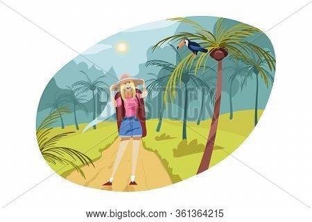 Travelling, Tourism, Nature, Hiking Concept. Young Woman Hiker Tourist Backpacker Standing In Tropic
