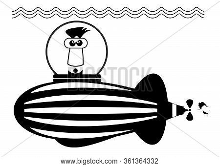 Funny Man Sailings On The Submarine Illustration. Cartoon Man Sailings On The Submarine Black On Whi