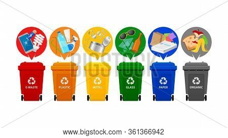 Recycle Bin Types, Garbage Sort E-waste, Plastic Waste, Metal, Glass, Paper And Organic Waste, Front