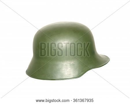 Vintage Army Helmet Isolated On White Background