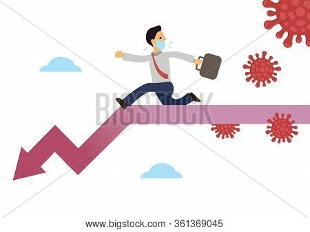 Businessman Running On A Downtrend Arrow With Infectious Coronavirus Isolated On A White Background.