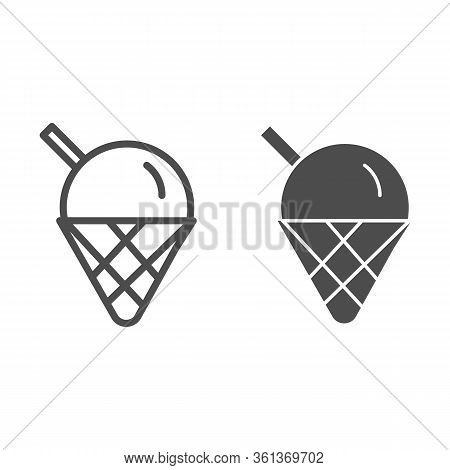 Ice Cream Line And Solid Icon. Cute Ice Cream Cone Dessert Illustration Isolated On White. Ice-cream