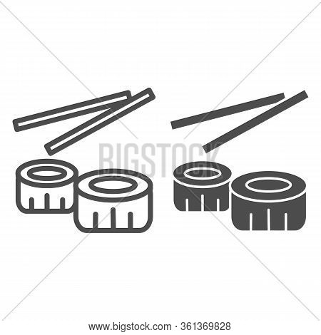 Sushi Line And Solid Icon. Chinese Sushi Food Illustration Isolated On White. Sushi Rolls With Chops