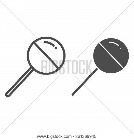 Chupa Chups Line And Solid Icon. Sweet Round Lollipop Illustration Isolated On White. Chupa Chups Yu