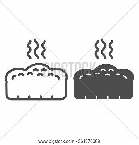 Bread Line And Solid Icon. Hot Bread Loaf With Steam Illustration Isolated On White. Hot Toast Bread