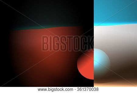 Creative Digital Art Poster. Vector Illustration. Abstract Diptych Day And Night. Cut Sphere With Bl