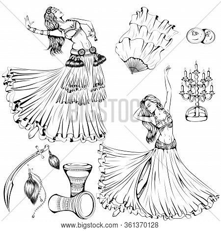 Vector Illustration Of Girls Dancing Belly Dance And Tribal Dance Isolated On White Background. Danc