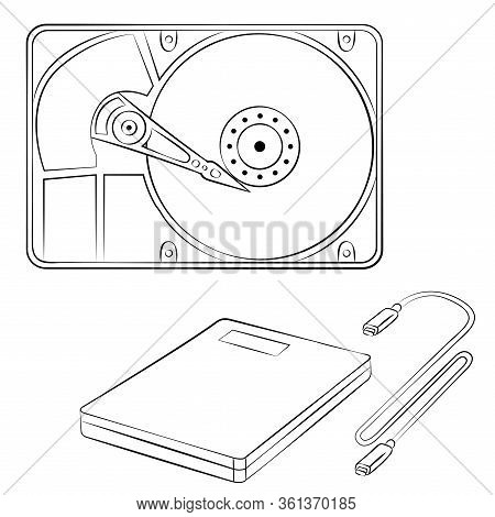 Hard Disk Drive For Storing Data On A Computer In Line Art Style. Portable Hard Drive. Vector Illust
