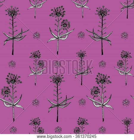 Delicate Twigs On Crimson Background. Vintage Seamless Pattern With Twig. Background For Eco Forest