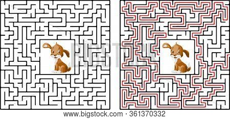 Cute Dog S Maze Game Help Dog Find His Buried Bone Maze Puzzle With Solutio