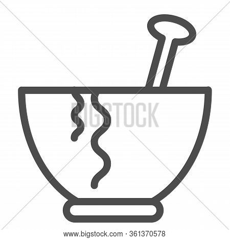 Plate Line Icon. Plate With Spoon Illustration Isolated On White. Pasta Plate Outline Style Design,