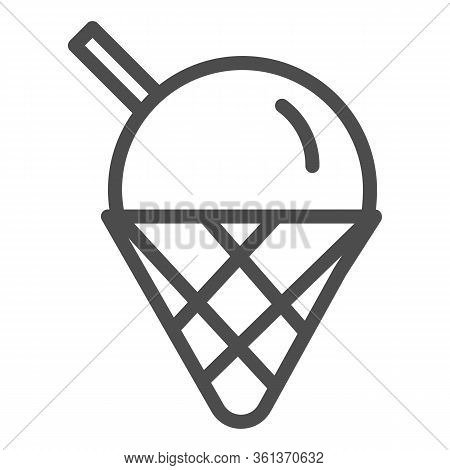 Ice Cream Line Icon. Cute Ice Cream Cone Dessert Illustration Isolated On White. Ice-cream Logo Outl