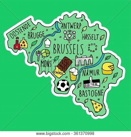 Colored Sticker Of Hand Drawn Doodle Belgium Map.