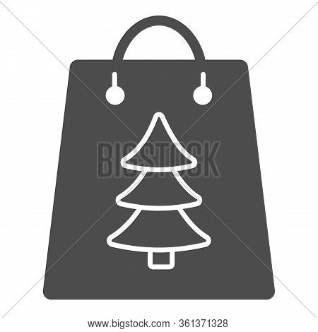 Gift Bag With Tree Sign Solid Icon. Christmas Present Package Glyph Style Pictogram On White Backgro