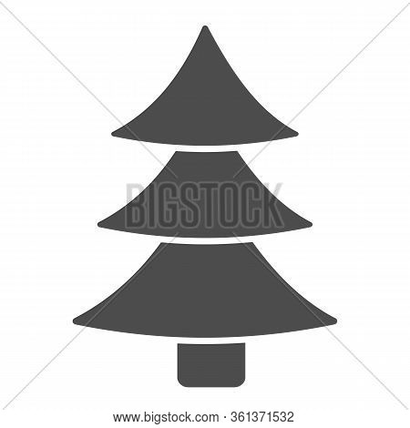 Christmas Tree Solid Icon. Decorated Conifer Glyph Style Pictogram On White Background. New Year Fir