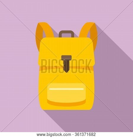 School Backpack Icon. Flat Illustration Of School Backpack Vector Icon For Web Design