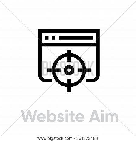 Website Aim Target Business Icon. Editable Line Vector.