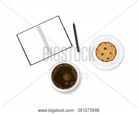 Working Table With Coffee, Chocolate Chip Cookie Dessert And Note Book. Writing Memories In Diary. V
