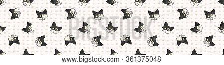 Cute Cartoon Japanese Bobtail Kitten Face Seamless Border Pattern. Pedigree Kitty Breed Domestic Kit