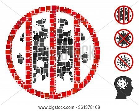 Collage Coronavirus Jail Icon Organized From Square Elements In Different Sizes And Color Hues. Vect