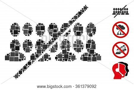 Mosaic No People Group Icon Composed Of Square Elements In Different Sizes And Color Hues. Vector Sq