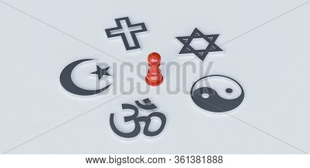 Christianity, Catholicism, Buddhism, Judaism, Islam Symbols On With Red Wooden Dummy. Chosing Betwee