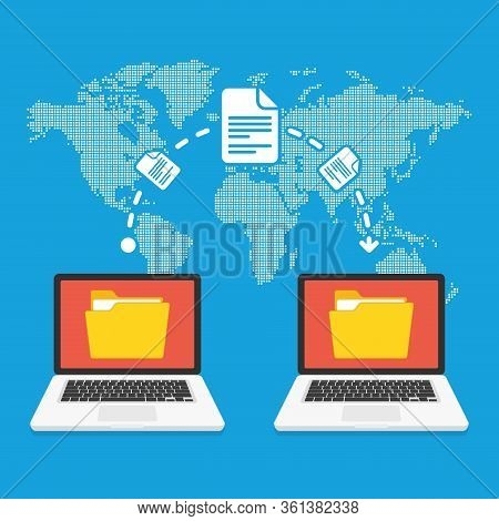 File Transfer Concept. Two Laptops With Yellow Folders On Screen And Transferred Documents. Copy Fil