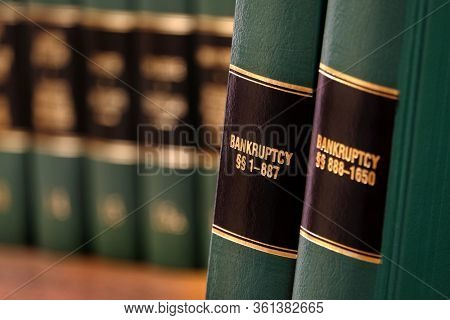 Bankruptcy law books on shelf bookshelf for legal reference