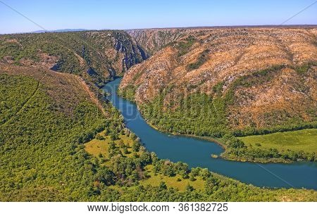 Aerial View Of The Krka River Canyon Located Downstream Of Bilusic Buk In Promina County In Croatia