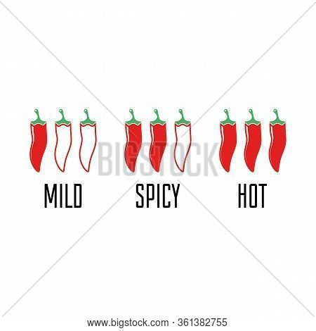 Chili Peppers Level Labels. Hot Red Pepper Strength Scale Indicator With Mild, And Hot. Vector Illus