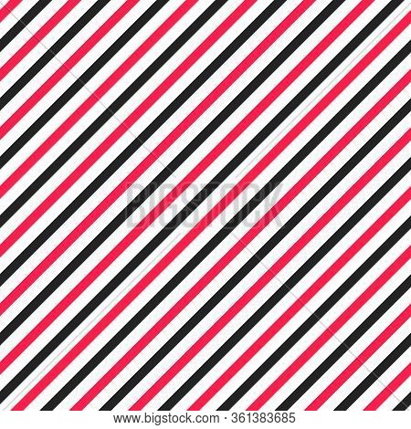 Simple Seamless Striped Pattern, Straight Diagonal Lines, Black And White Texture, Vector Background