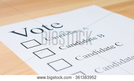Voting Ballot Paper For Elections. Democracy And Decision Concept