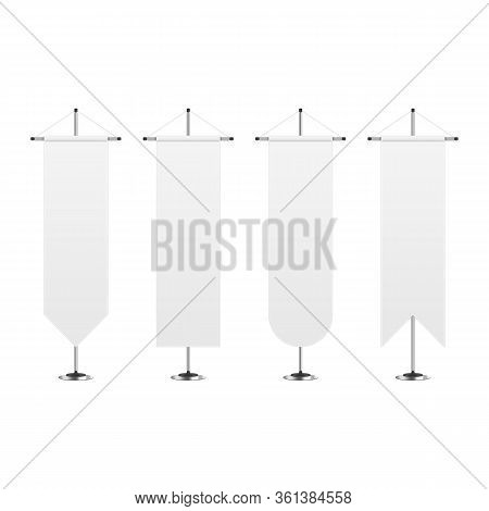 Blank Mockup Pennants Set In Realistic Style. White Pennant On Steel Spire Pedestal Isolated On Whit