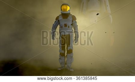 Courageous Astronaut In The Space Suit Explores Mysterious Alien Planet Covered In Mist. Space Trave